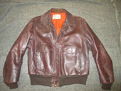 VINTAGE HORSEHIDE LEATHER A-2 STYLE FLIGHT JACKET SIZE 42 MADE BY DURABLE 1940s