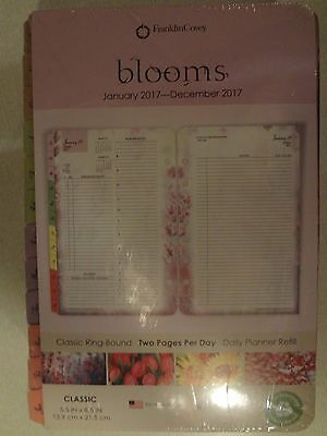 """New Franklin Covey Blooms 2017 2 Page Per Day Classic Refill 5.5"""" X 8.5"""""""