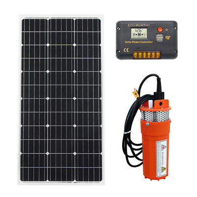 12V Submersible Deep Well Water Pump & 100W Solar Panel + 15A Charge Controller