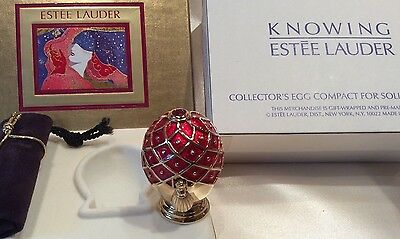 Estee Lauder KNOWING Solid Perfume Compact RED Collector's Egg in Double Box