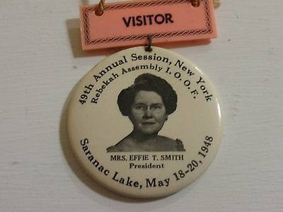 1948 Oddfellow Rebekah Assembly Saranac Lake NY Convention Celluloid Guest Badge