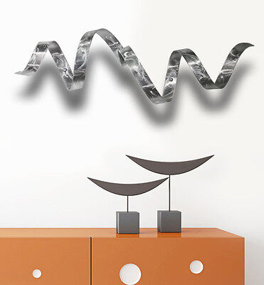 Outdoor Silver Metal Wall Sculpture - Abstract Metal Art - Silver Wall Twist
