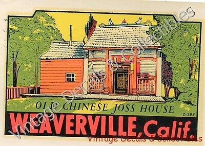 """Vintage Weaverville California Souvenir State Travel Decal """"chinese Joss House"""""""