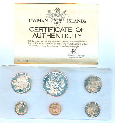 1975 Cayman Islands Proof Set Minted At The Royal Canadian Mint 6 Coins
