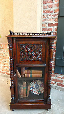 Antique English Carved Tiger Oak Cabinet End Table Vitrine Glass Bookcase