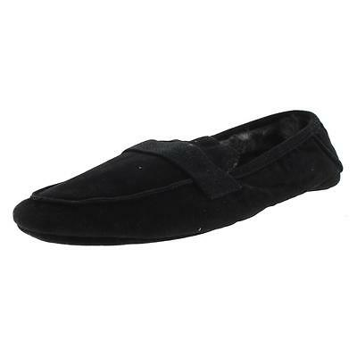 Zara 1148 Mens Black Faux Suede Faux Fur Lined Moccasin Slippers Shoes 7 BHFO