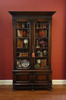 TALL Antique English Carved Oak Leaded Glass BOOKCASE Display Cabinet Jacobean