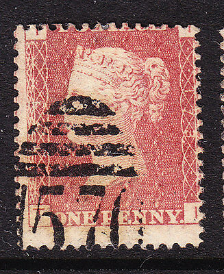 GB  1858 - QV - 1d Red Plate 173 - Position I-T