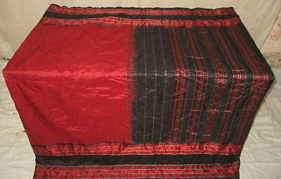 Pure silk Antique Vintage Sari Saree Fabric REUSE 4y 16dgi 6d02 Black #ABCO5