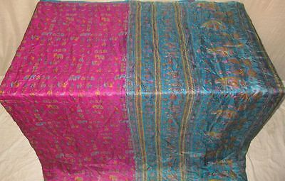 Pure silk Antique Vintage Sari Saree Fabric REUSE 4y 16dgi 6d07 Pink Blue #ABCQY