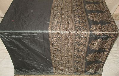 Pure silk Antique Vintage Sari Saree Fabric REUSE 4y 16dgi 6d02 Grey #ABCNN