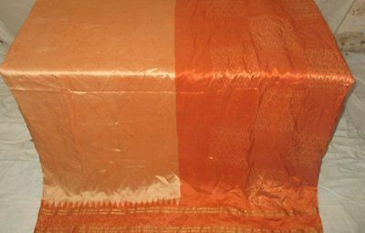 Pure silk Antique Vintage Sari Saree Fabric REUSE 4y 16dgi 6d02 Orange #ABCNZ