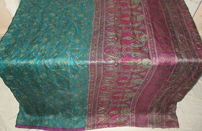 Pure silk Antique Vintage Sari Saree Fabric REUSE 4y 16dgi 6d05 Pck Green #ABCP3