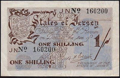 1941-42 JERSEY 1/- BANKNOTE * OCCUPATION ISSUE * JN 160200 * gVF *