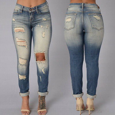 Women Pencil Stretch Casual Denim Skinny Jeans Pant High Waist Jeans Trousers US
