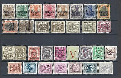 Belgium variety 30 stamps German occupation MH MLH