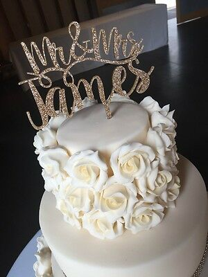 Our stunning glitter designs MR & MRS  Wedding cake Toppers