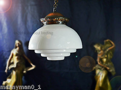 Large sky scraper Opaline milk glass Art Deco lantern industrial vintage Light