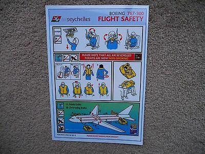 Air Seychelles Boeing 767 300 Airline Safety Card