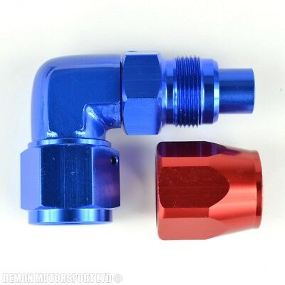 AN10 -10 90 Degree Bend Forged Braided Hose Fitting (Red & Blue) Oil Fuel Water
