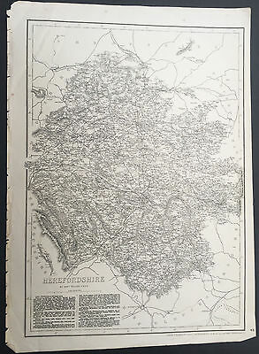 1862 Weller Cassell Large Old, Antique Map of the English County of Hereford