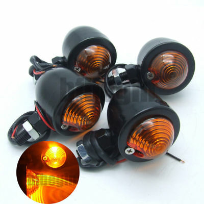 4x Motorcycle Turn Signal Light Indicator for Harley Chopper Cafe Racer Black