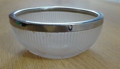 VINTAGE (late 1950s) Opaque Glass Sugar / Jam Bowl with silver colour metal rim