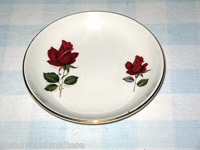 Red Rose Buds Gold Rim Myott Ironstone England Dish 10.5cm Wide NEW Condition