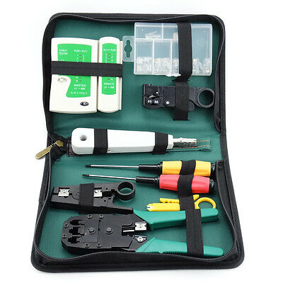 Network Cable Wire Tool Kit --RJ45 RJ11 Tester Crimper Stripper Cutter Fittings