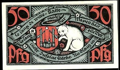 UNCIRC 1921 NOTGELD CURRENCY w LEGENDARY WHITE CAT of SAXONY, GERMAN TYCOON Read