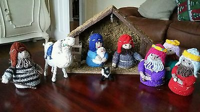 8 piece hand knitted nativity set with crib excellent condition.  Bargain.
