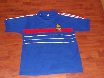 Maillot Foot  Football Ancien Equipe France T Xl Annee 80 Vintage Platini
