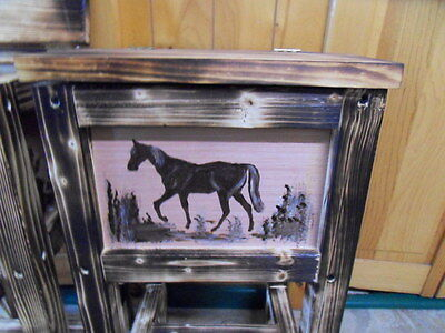 horse table nightstand end table  moose  bison  bear made in Maine solid wood