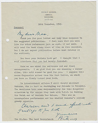 ANTHONY EDEN, Prime Minister, good Signed Letter to Beaverbrook, 1963