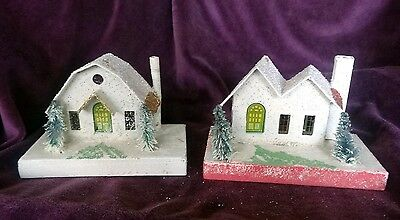 Pair Of Vintage Japan Frosted Card Board Mantle Size Christmas Houses