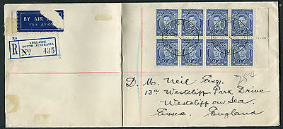 Australia 1938 3d bright blue die II SG 168c/ca block of 8 on cover to England