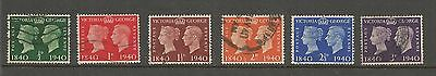 King George Vi Centenary Of Penny Black 1940 Used Set Of Six Ref 43
