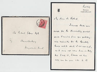 LORD ROSEBERY, Prime Minister, autograph letter and envelope, Mentmore 1909