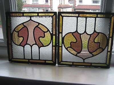 Vintage Stained Glass Panels X3........stained Glass Windows....leaded Lights