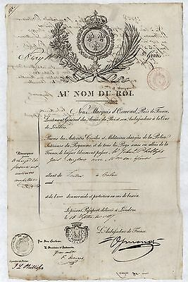 PASSPORT. French Passport issued in London, 1817, signed Marquis d'Osmond