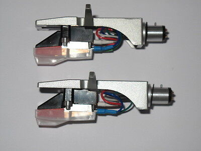 2 x Silver Headshells With Diamond Tip Stylus +Stereo Moving Magnetic Cartridge