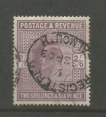 King Edward Vii 1903 Two Shillings& Six Pence Lilac Used  Ref 64