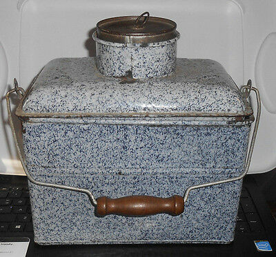 """Vintage Grey Granite Ware Enamel Lunch Box Pail with Tray Large 9 1/2"""" Tall"""