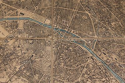Large antique French linen backed map of Paris & environs inc Versailles. C1870