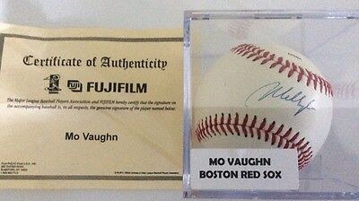 Mo Vaughn Boston Red Sox Autographed Signed Baseball COA With Plastic Case