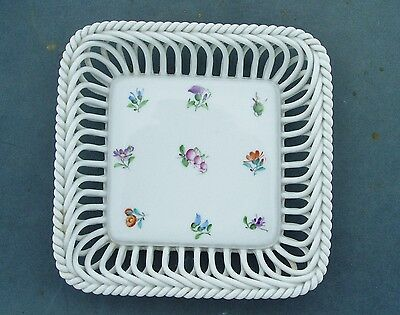 Herend Porcelain Hungary Handpainted Floral Sprigs Square Basket Dish