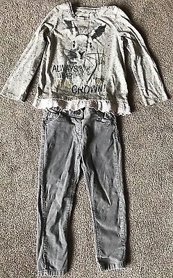 Girls NEXT Outfit Grey Silver Sparkly Rabbit Age 3-4