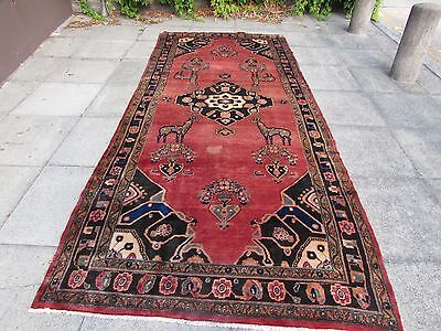 Old Traditional Persian Carpet Wool Red Oriental Hand Made Long Rug 374x160cm