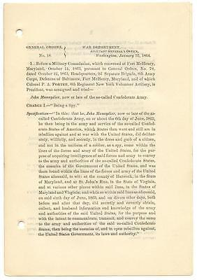1864 Civil War General Orders 18 Spy Death Sentence Commuted by Abraham Lincoln