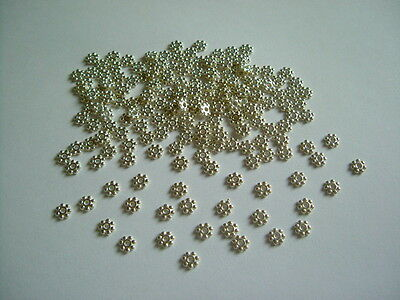 200pcs x Silver Plated 4mm Flower Daisy Spacer Beads